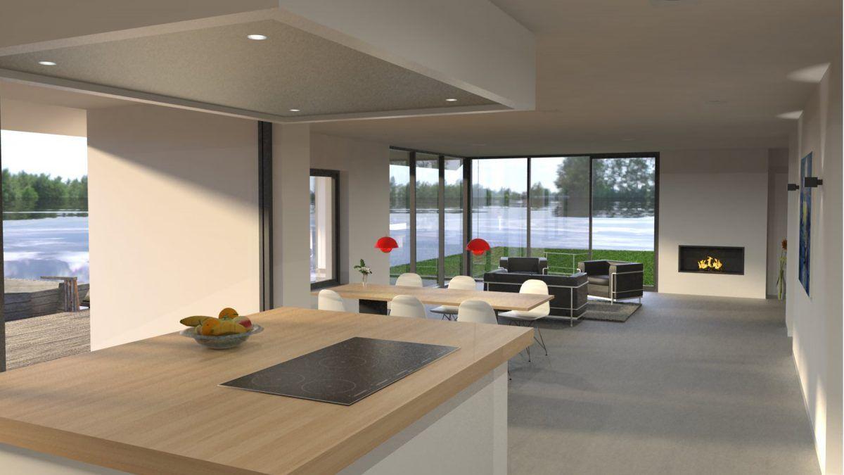 Werkplek woonkamer ontwerp