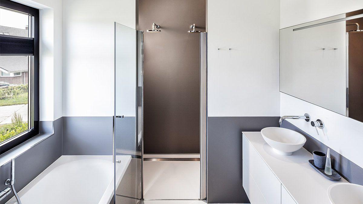 Ontwerp badkamer in moderne nieuwbouw woning door BNLA Architecten.
