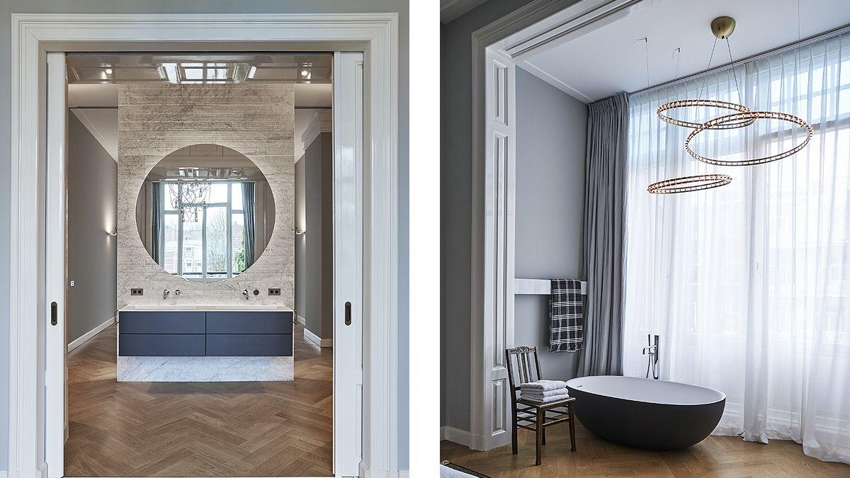 Badkamer ensuite met vrijstaand bad na verbouwing monumentale woning. Ontwerp BNLA Architecten