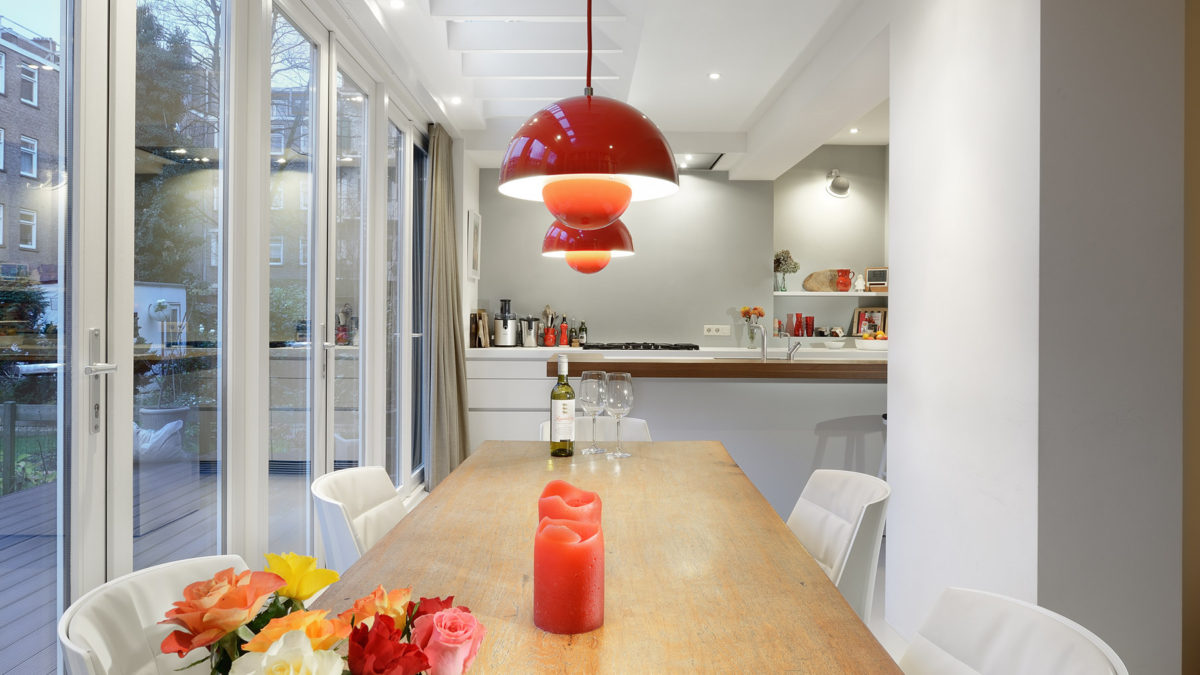 Open keuken in aanbouw woning Amsterdam - BNLA Architecten