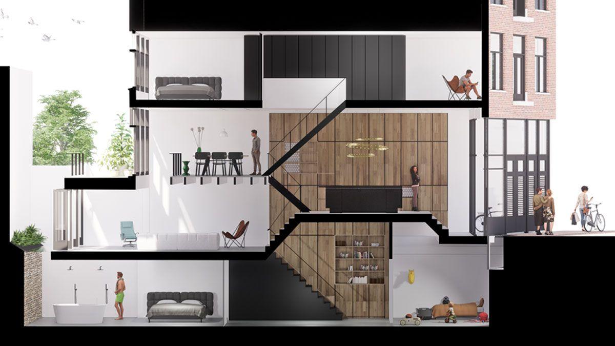 BNLA architecten ontwerp architect doorsnede grachtenpand