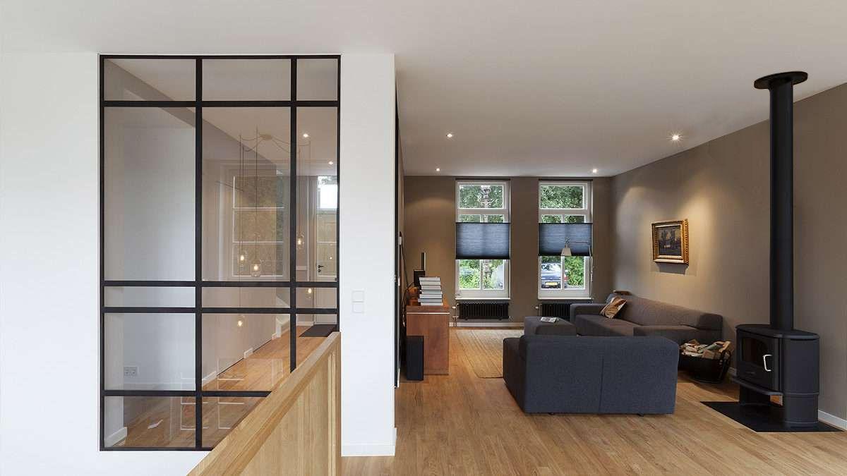 Ontwerp woonkamer van dijkwoning door BNLA Architecten