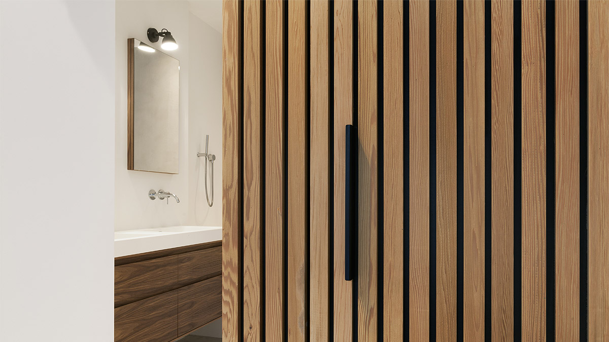 Detail van modern ontwerp appartement met warme uitstraling