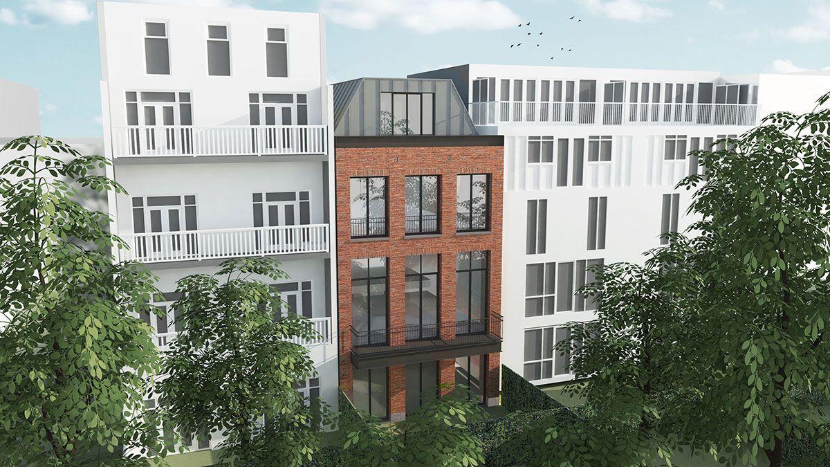 Achtergevel duurzame stadsvilla. Ontwerp BNLA Architecten
