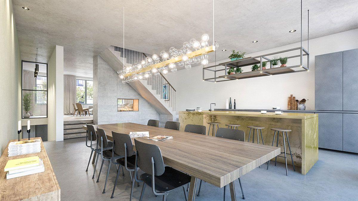 Open leefkeuken van duurzame villa ontworpen door BNLA Architecten.