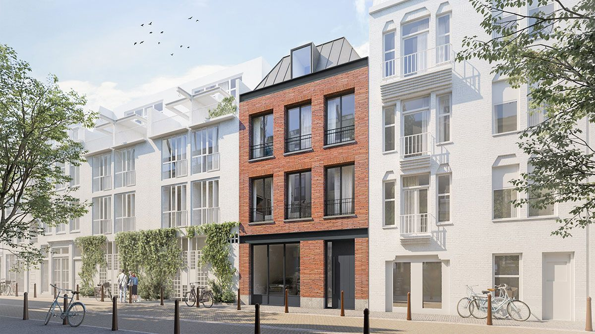 Ontwerp duurzame stadsvilla door BNLA Architecten. Aanzicht voorgevel.