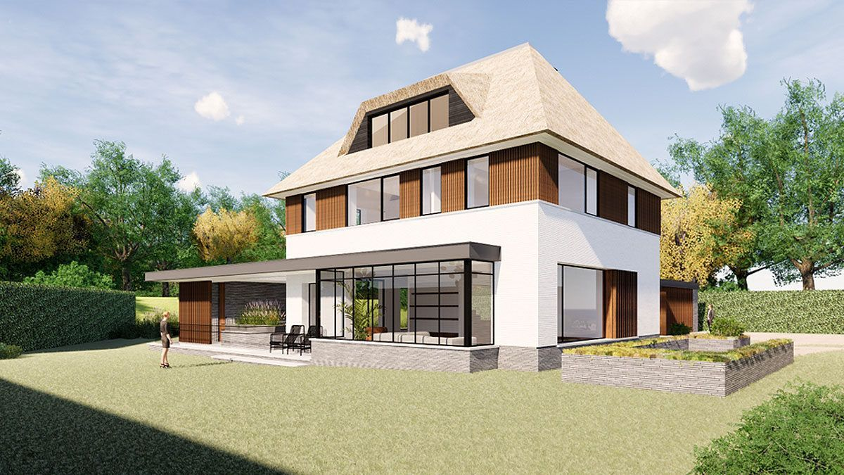 Moderne villa met rieten kap