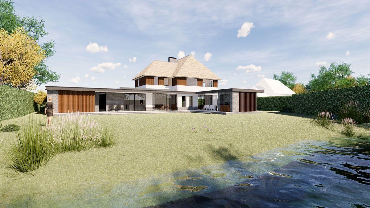 Villa met grote uitbouw