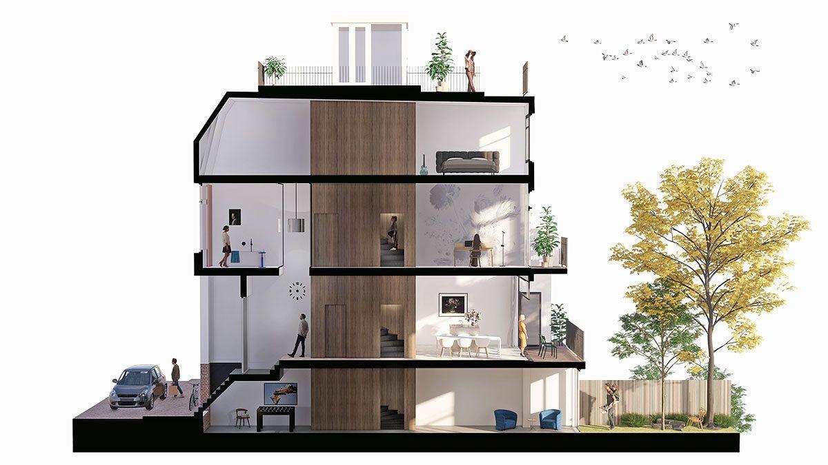 BNLA architecten doorsnede verbouwing amsterdam herenhuis
