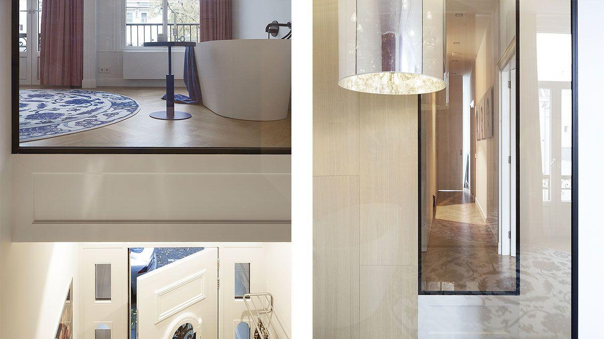 BNLA architecten. Ontwero van een entree met vide in een luxe herenhuis in Amsterdam.