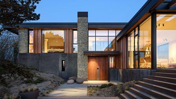 Vooraanzicht van duinvilla. Ontwerp door BNLA architecten.